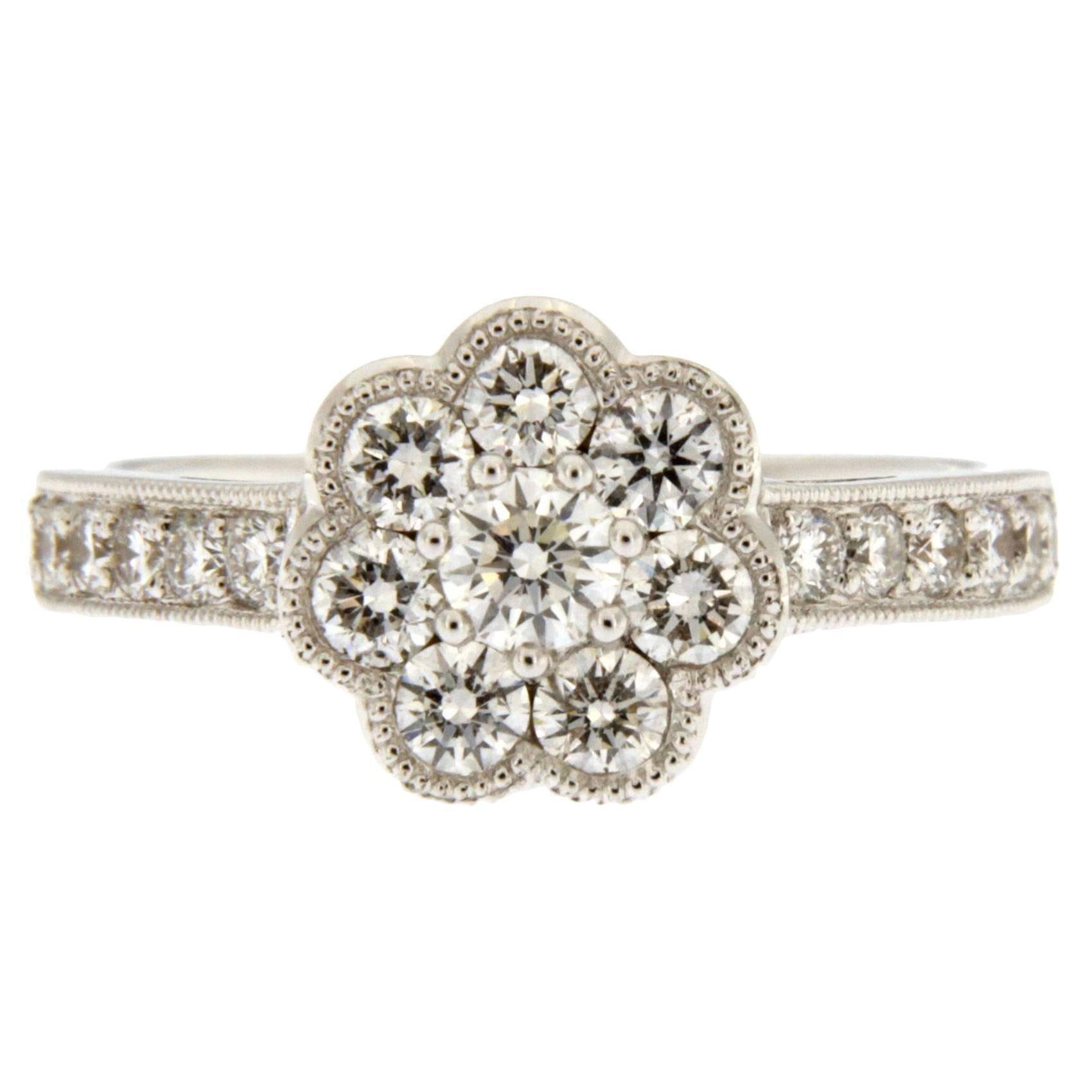 Alex Jona White Diamond 18 Karat White Gold Cluster Ring