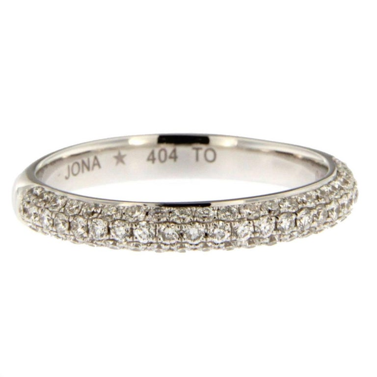 Jona White Diamond 18 Karat White Gold Band Ring For Sale
