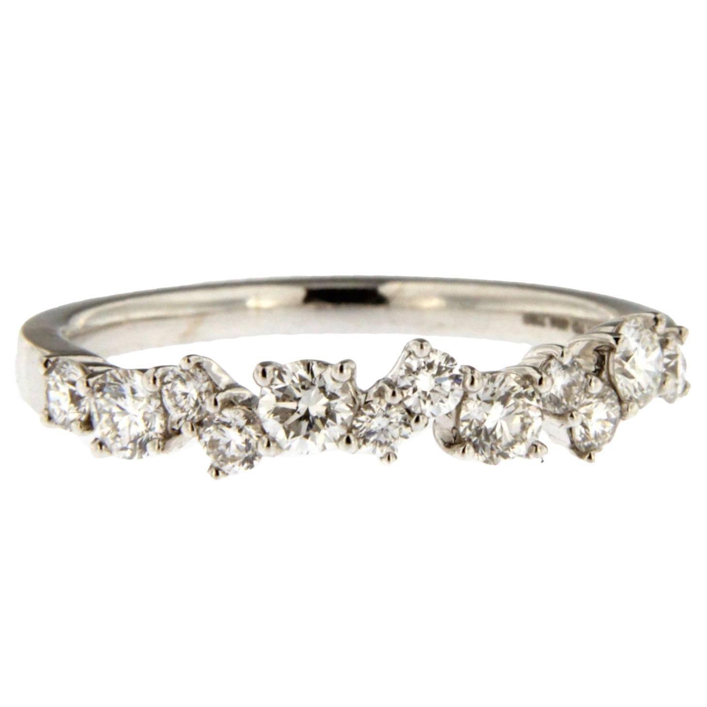 Alex Jona White Diamond 18k White Gold Band Ring