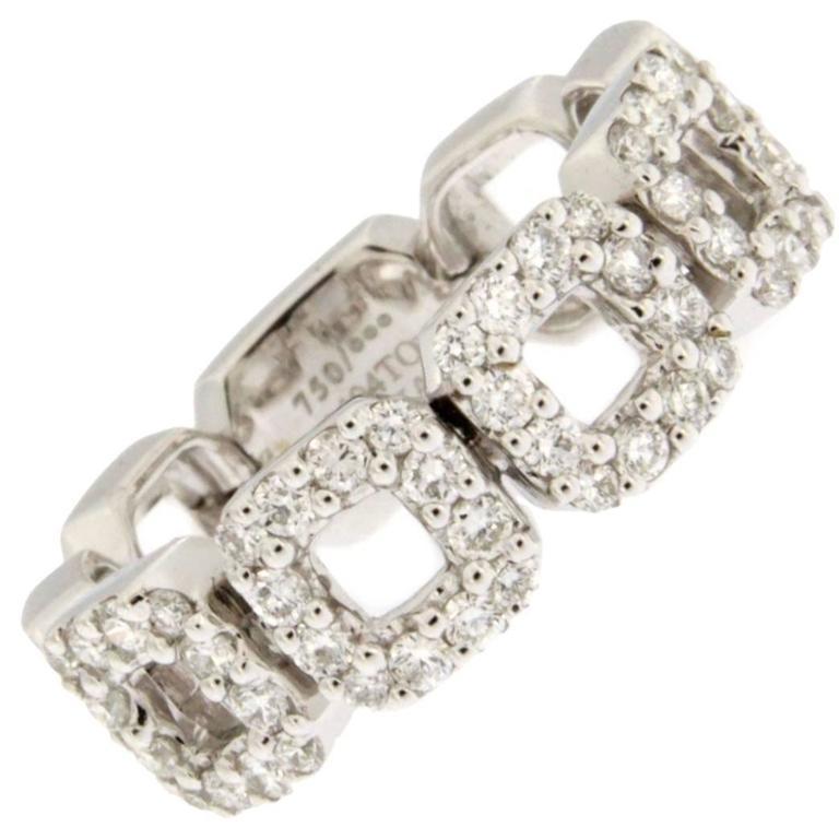 Jona White Diamond 18 Karat White Gold Flexible Band Ring