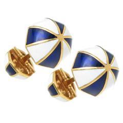 David Webb Enamel Gold Umbrella Cufflinks