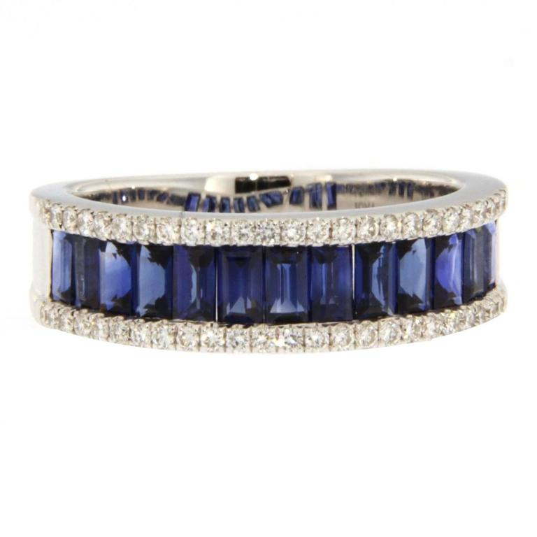 Jona Blue Sapphire Diamond 18k White Gold Band Ring
