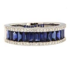 Jona Blue Sapphire White Diamond 18 Karat White Gold Band Ring