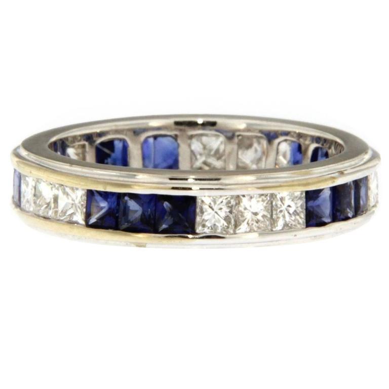 Jona Blue Sapphire Diamond White Gold Band Ring For Sale