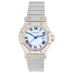 Cartier Yellow Gold Stainless Steel Santos Octagon Automatic Winding Wristwatch