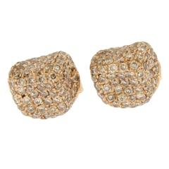 Jona Brown Diamond 18 Karat Pink Gold Stud Earrings