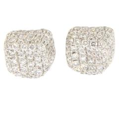 Jona White Diamond 18k White Gold Stud Pebble Earrings
