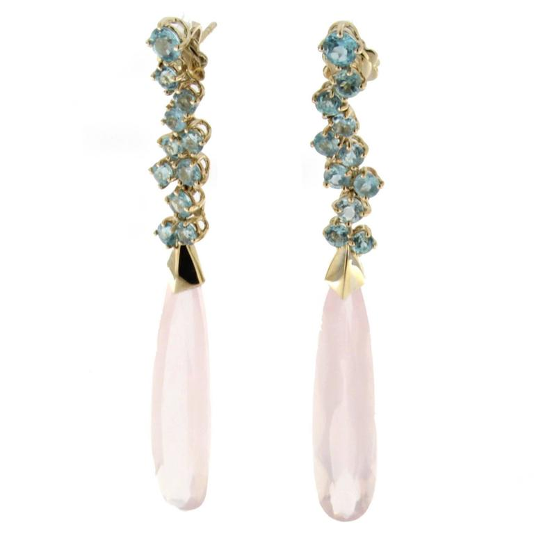Jona Apatite Pink Quartz Gold Chandelier Earrings