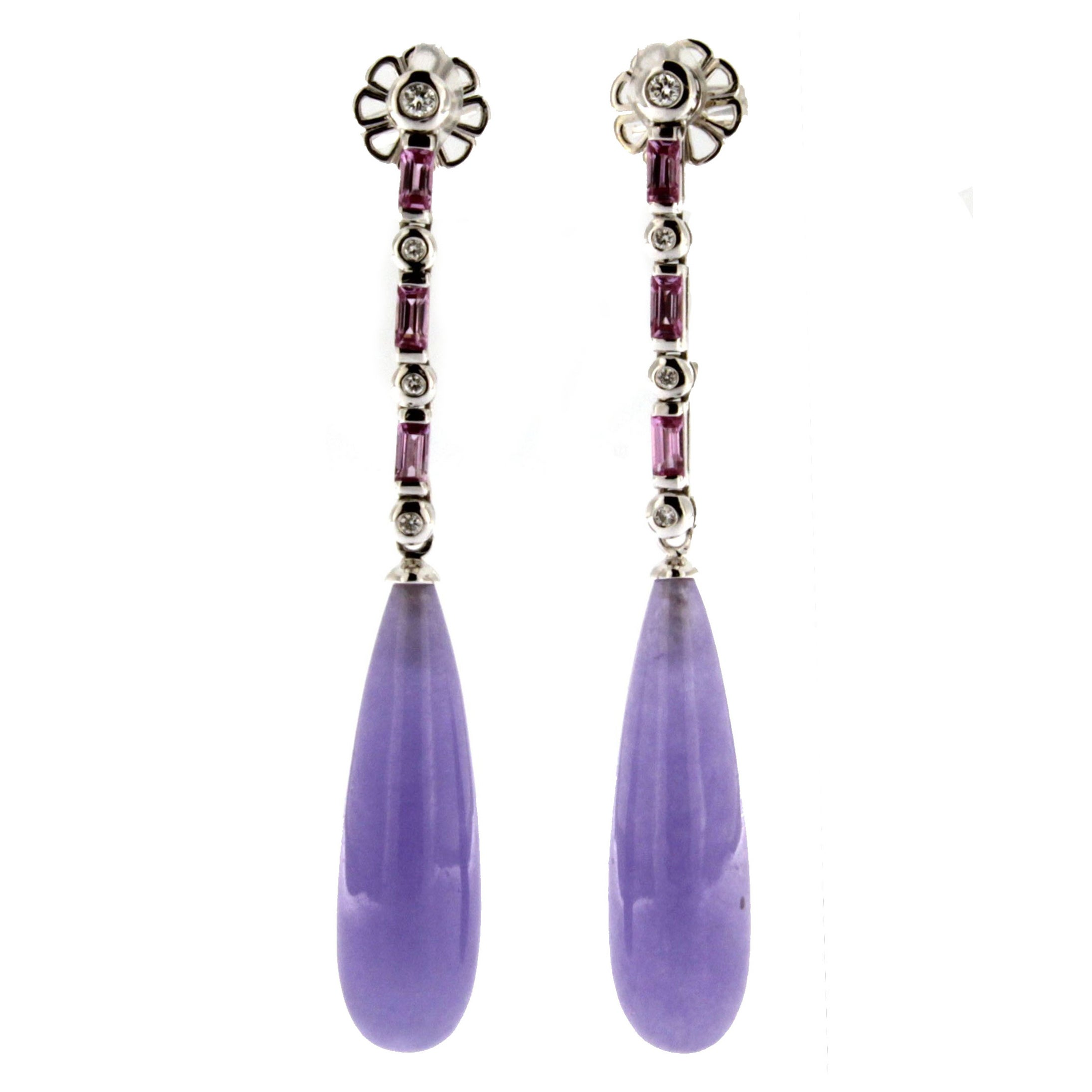 Jona Lavender Jadeite Jade Tourmaline White Diamond 18 Karat Gold Drop Earrings