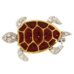 Jona Enamel Diamond 18 Karat White and Yellow Gold Turtle Brooch
