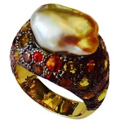 Baroque Maluka Pearl Sapphire Diamond Gold Dome Ring