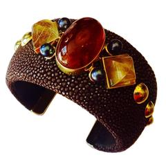 Stingray Hessonite Garnet Rutilated Quartz Pearl Gold Cuff Bracelet