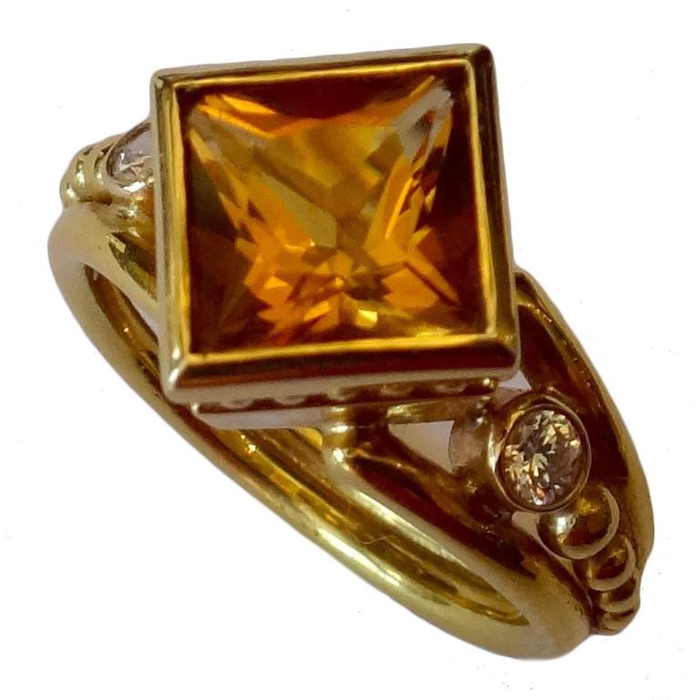 citrine princess cut gold ring at 1stdibs