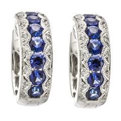 Sapphire Diamond Gold Hoop Earrings
