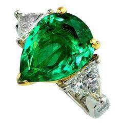 4.34 Carat Emerald Diamond Platinum Ring
