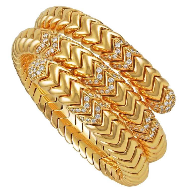 Bulgari Gold and Diamond Spiga Bracelet For Sale at 1stdibs
