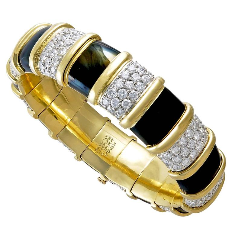 Tiffany & Co. Jean Schlumberger Enamel Diamond Gold Bangle Bracelet