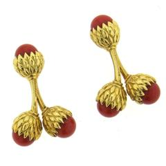 Tiffany & Co Jean Schlumberger Coral Gold Acorn Cufflinks