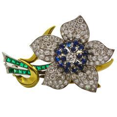 Sapphire Emerald Diamond Gold Platinum Flower Brooch