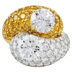 VAN CLEEF & ARPELS White and Yellow Diamond Ring