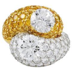 VAN CLEEF & ARPELS White and Yellow Diamond Ring