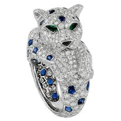 CARTIER Diamond Sapphire Onyx Emerald Panther Ring