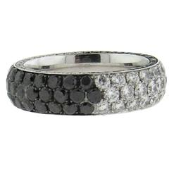Marco Valente White and Black Diamond Gold Band Ring