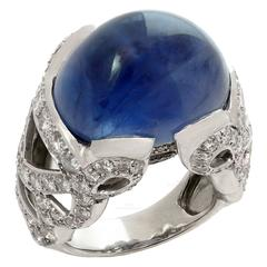 Natural Blue Sapphire Diamond Gold Dome Ring