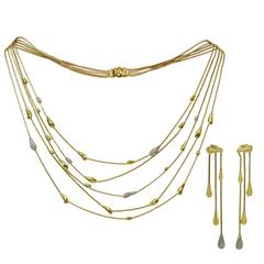 H.Stern Drops Diamond Gold Necklace and Earrings Set