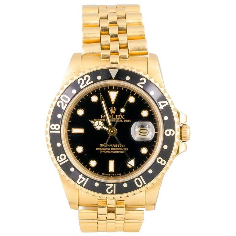 Rolex Yellow Gold GMT Master Jubilee Bracelet Automatic Wristwatch For Sale