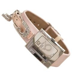 Christian Dior Stainless Steel and Pink Satin Watch