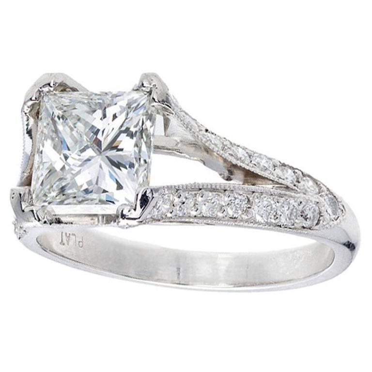 Peter Suchy Diamond Platinum Split Shank Engagement Ring