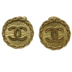 Chanel Gold CC Disc Clip On Earrings 94A