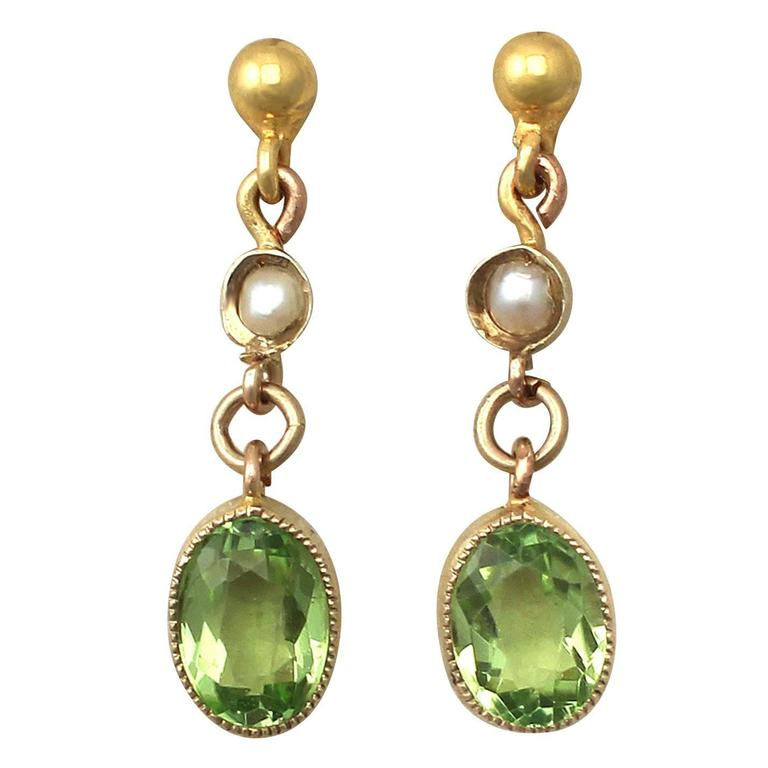 Vintage Solid 22 Carat Gold Necklace Earring Pair Set: 1910s Pearl 1.22 Carat Peridot Gold Drop Earrings At 1stdibs