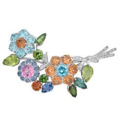 Diamond Gem-Set Gold Platinum Floral Brooch