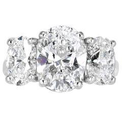 GIA Cert Diamonds Platinum 3 Stone Ring