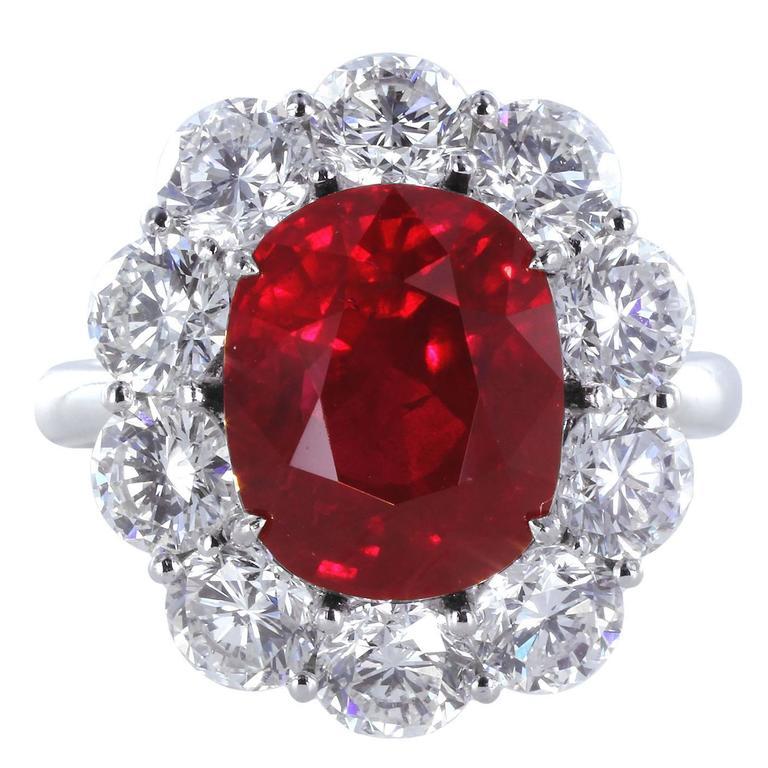 999e5efcf8878 5.04 Carat GIA Cert Burma Ruby Diamond Platinum Cluster Ring