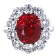 5.04 Carat GIA Cert Burma Ruby Diamond Platinum Cluster Ring