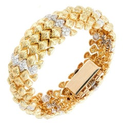 Goldie Lady's Yellow Gold Bombe Diamond Bracelet Hinged Covered Wristwatch
