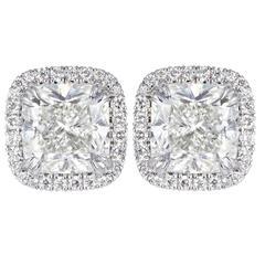 4.04 Carats GIA Cert Cushion Cut Diamonds Gold Earrings