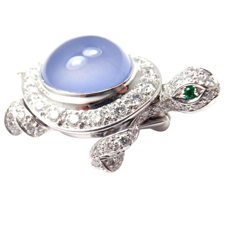 Cartier Chalcedony Diamond Gold Turtle Pin Brooch