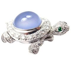 Cartier Chalcedony Diamond Gold Turtle Pin Brooch
