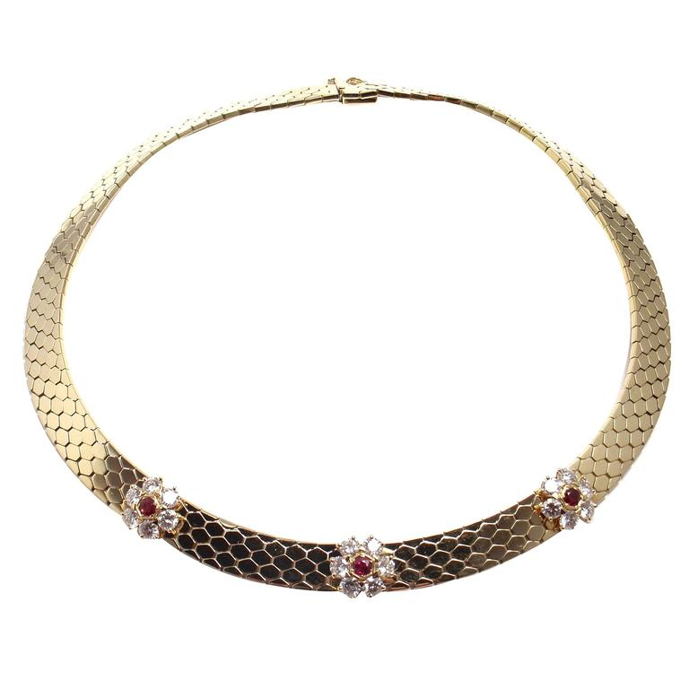 Van Cleef & Arpels Honeycomb Ludo Ruby Diamond Gold Fleurette Necklace
