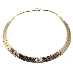 Van Cleef & Arpels Honeycomb Ludo Ruby Diamond Gold Fleurette Necklace