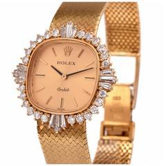 Rolex Lady's Yellow Gold Diamond Orchid Wristwatch