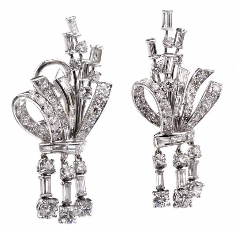 Diamond Platinum Pendant Drop Earrings