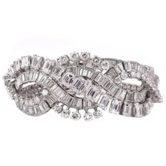 Retro Wide Emerald Cut and Round Diamond Platinum Bracelet