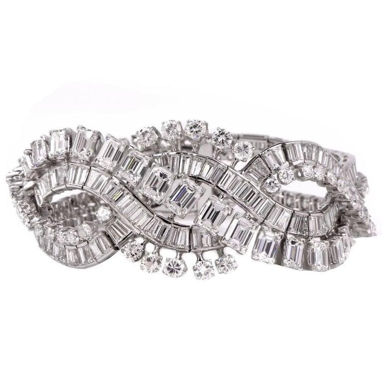 Retro Wide Emerald Cut and Round Diamond Platinum Bracelet For Sale