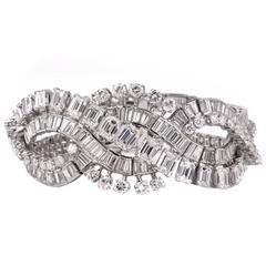 Retro Wide Emerald Cut and Round Diamond Platinum Bracelet