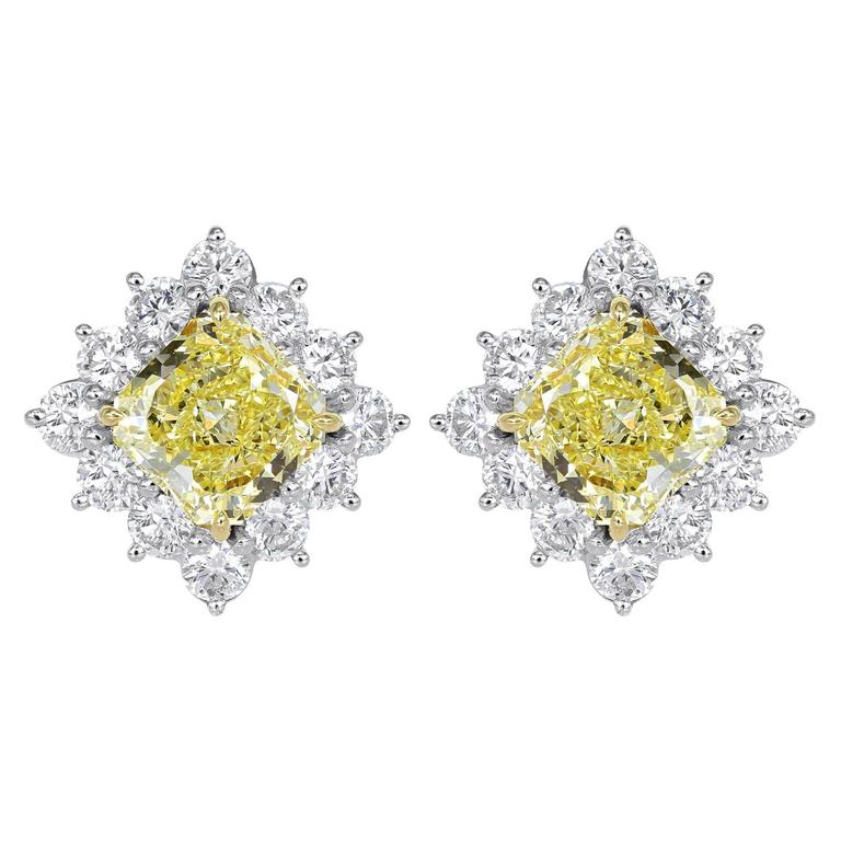 5.02 Carat GIA Certified Canary and White Diamond Stud Earrings
